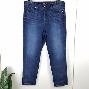 Spanx 5 pocket boyfriend dark wash jeans size 32